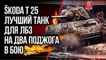 Skoda T 25 - лучший танк для ЛБЗ на ДВА ПОДЖОГА в бою