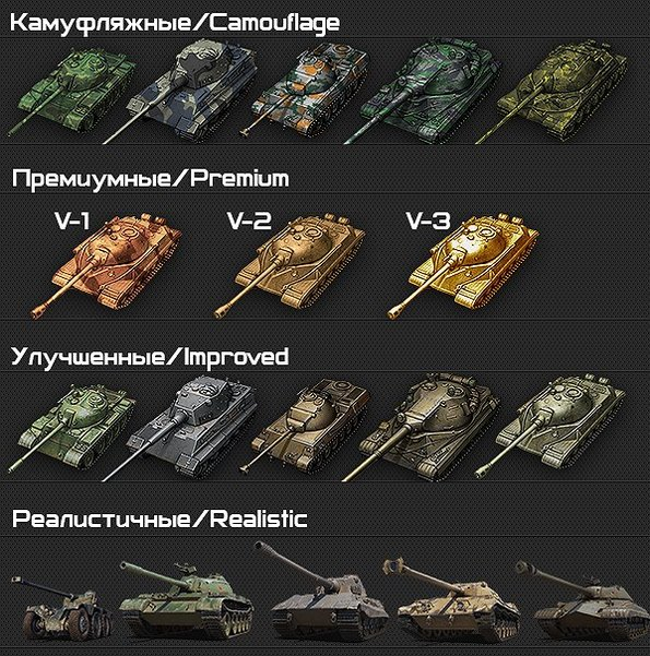 Иконки танков с камуфляжем в ангаре для World of Tanks
